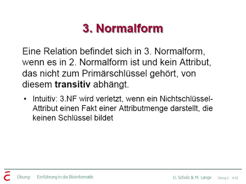 Übung: Einführung in die Bioinformatik U. Scholz & M. Lange Übung 1: # 23