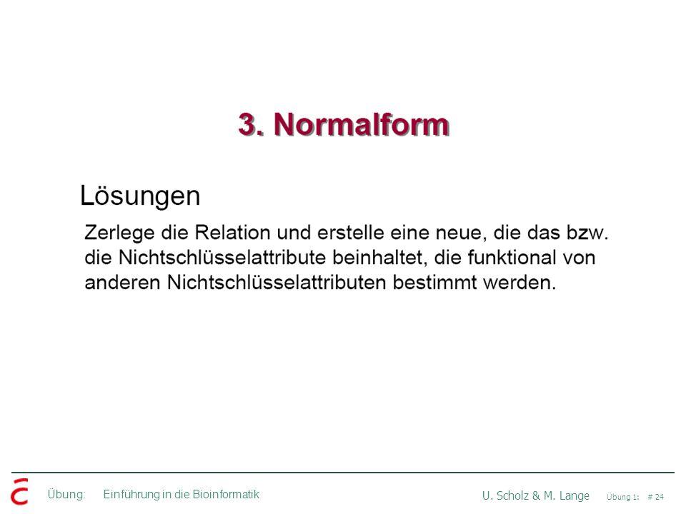 Übung: Einführung in die Bioinformatik U. Scholz & M. Lange Übung 1: # 24