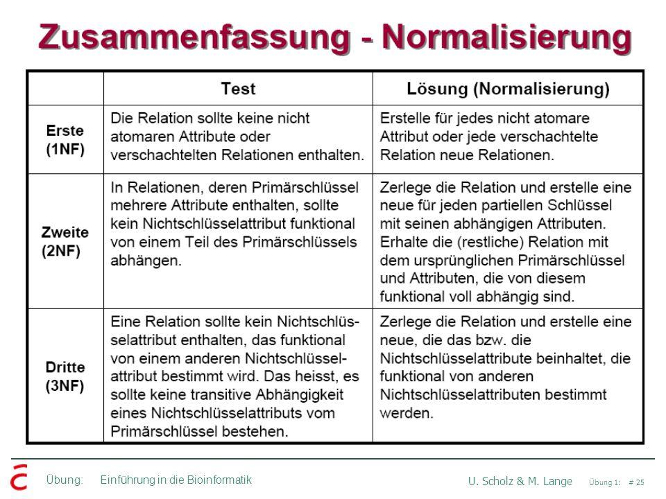 Übung: Einführung in die Bioinformatik U. Scholz & M. Lange Übung 1: # 25