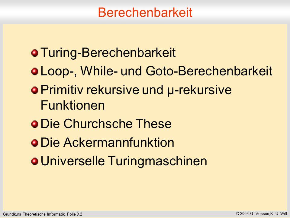 Grundkurs Theoretische Informatik, Folie 9.2 © 2006 G. Vossen,K.-U. Witt Berechenbarkeit Turing-Berechenbarkeit Loop-, While- und Goto-Berechenbarkeit