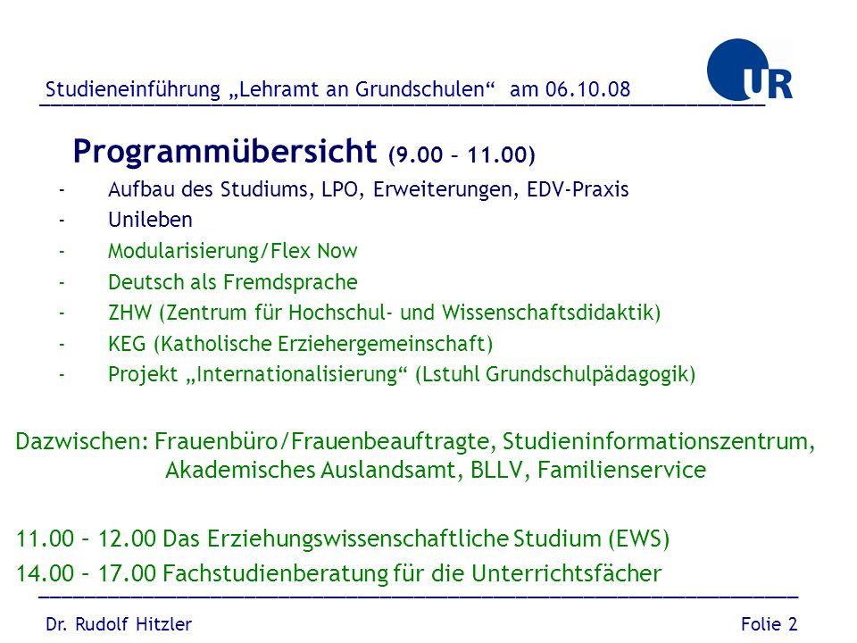Programmübersicht (9.00 – 11.00) -Aufbau des Studiums, LPO, Erweiterungen, EDV-Praxis -Unileben -Modularisierung/Flex Now -Deutsch als Fremdsprache -Z