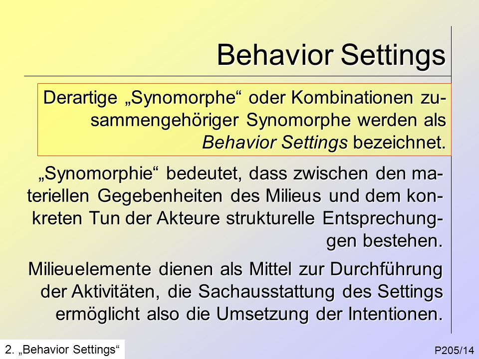 Behavior Settings P205/14 2.