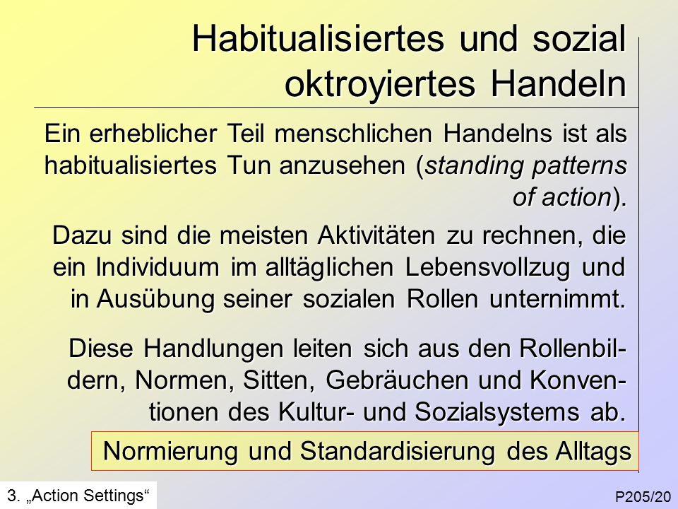 Habitualisiertes und sozial oktroyiertes Handeln P205/20 3.