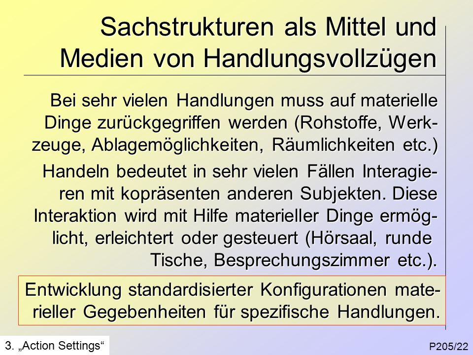 Sachstrukturen als Mittel und Medien von Handlungsvollzügen P205/22 3.