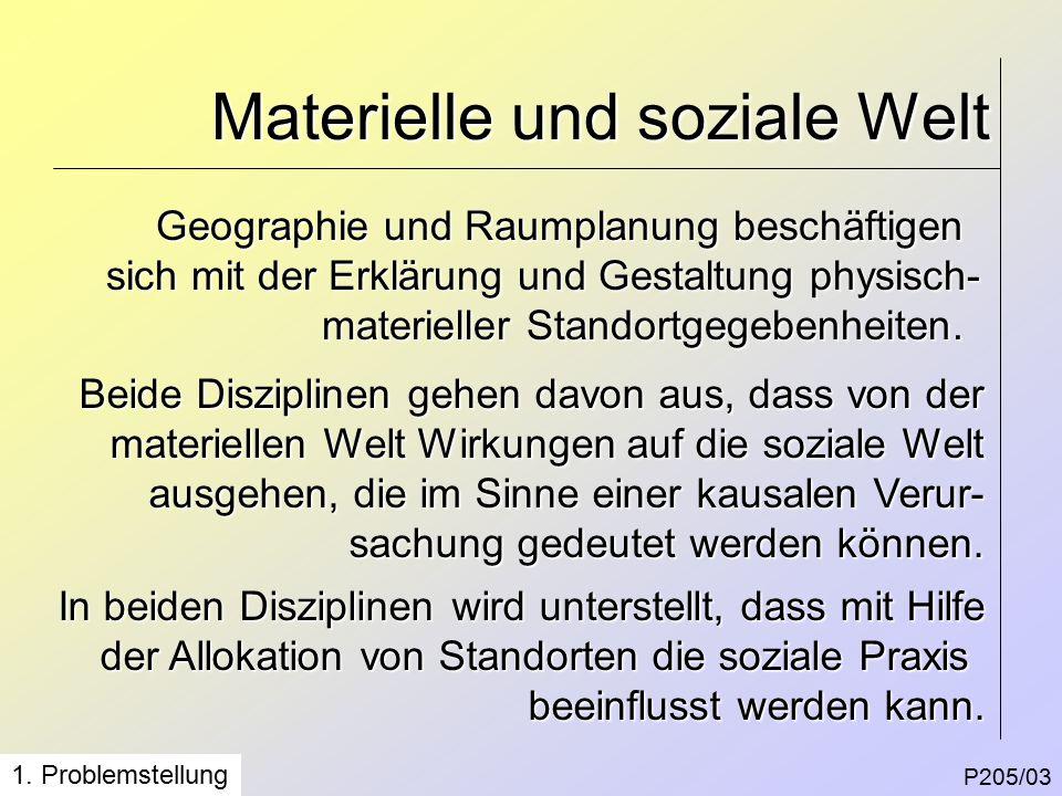 Materielle und soziale Welt P205/03 Geographie und Raumplanung beschäftigen sich mit der Erklärung und Gestaltung physisch- materieller Standortgegebenheiten.
