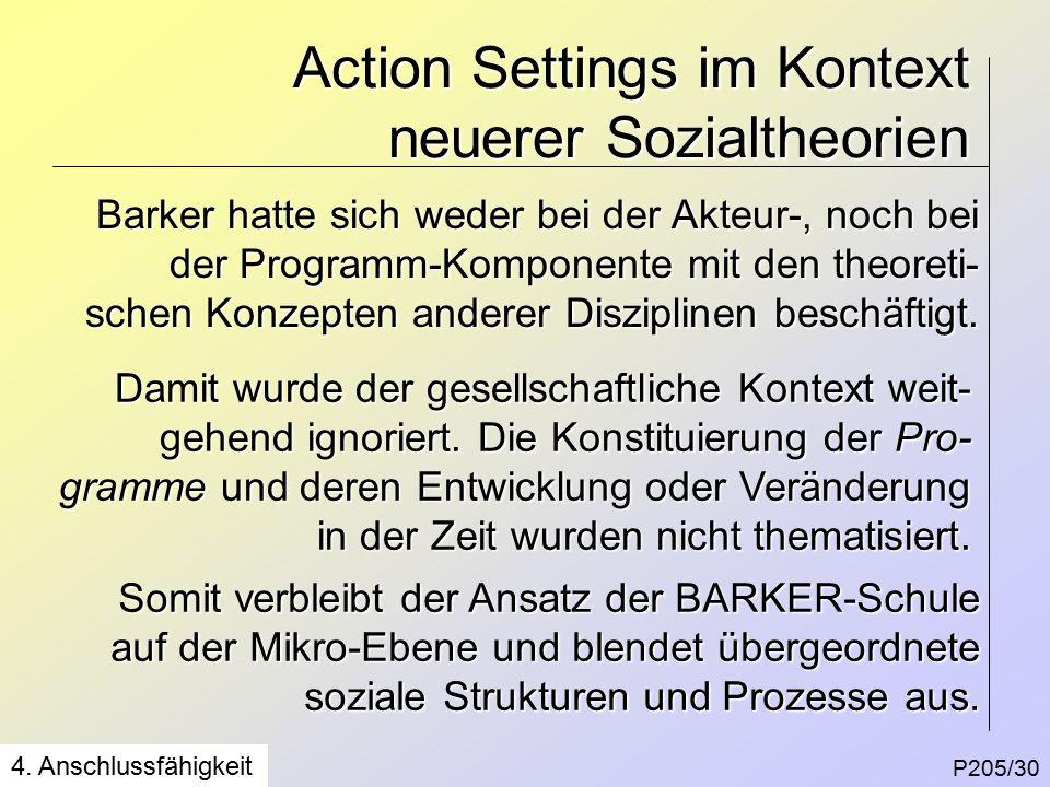 Action Settings im Kontext neuerer Sozialtheorien P205/30 4.