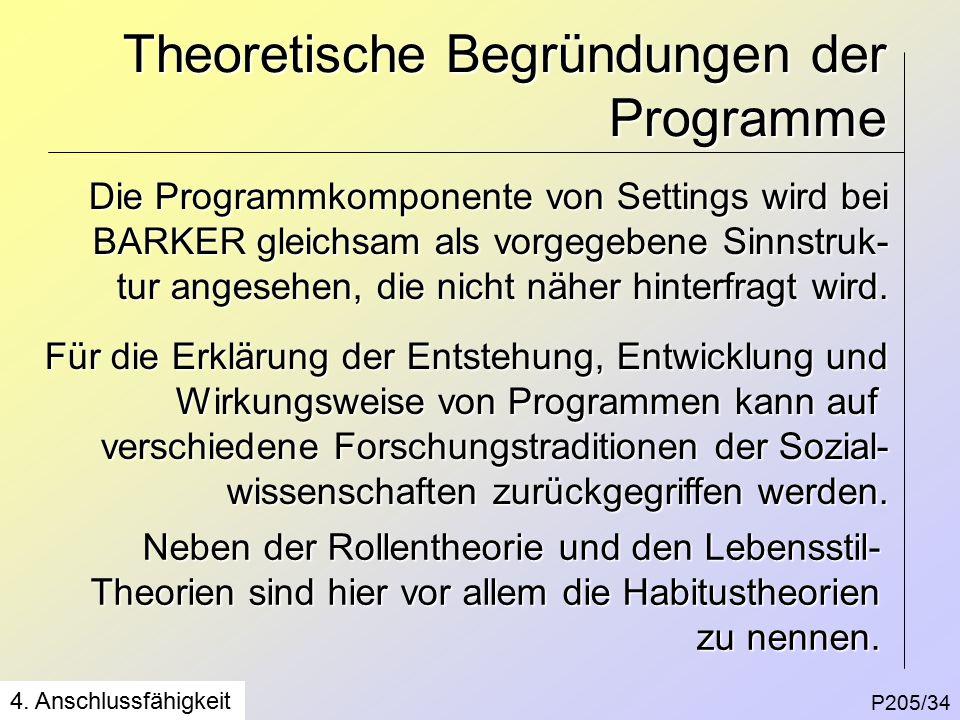 Theoretische Begründungen der Programme P205/34 4.