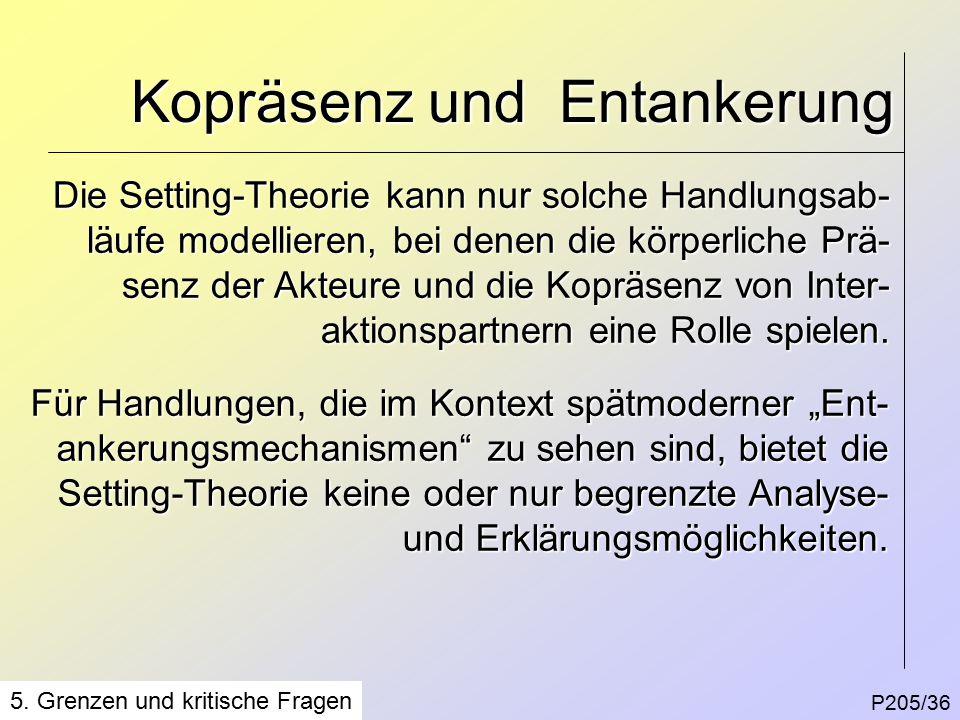 Kopräsenz und Entankerung P205/36 5.