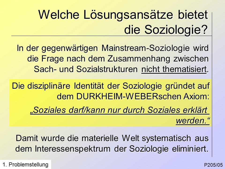 P205/05 Welche Lösungsansätze bietet die Soziologie.