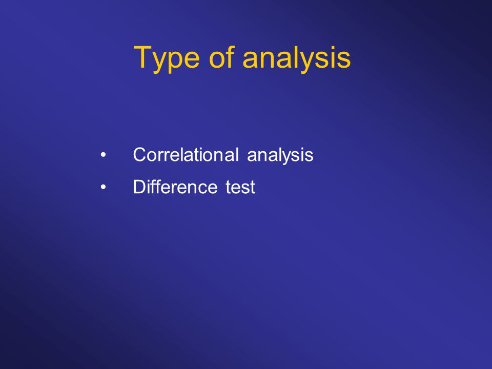 Type of analysis Correlational analysis Difference test