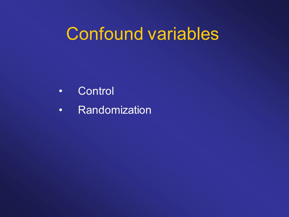 Confound variables Control Randomization