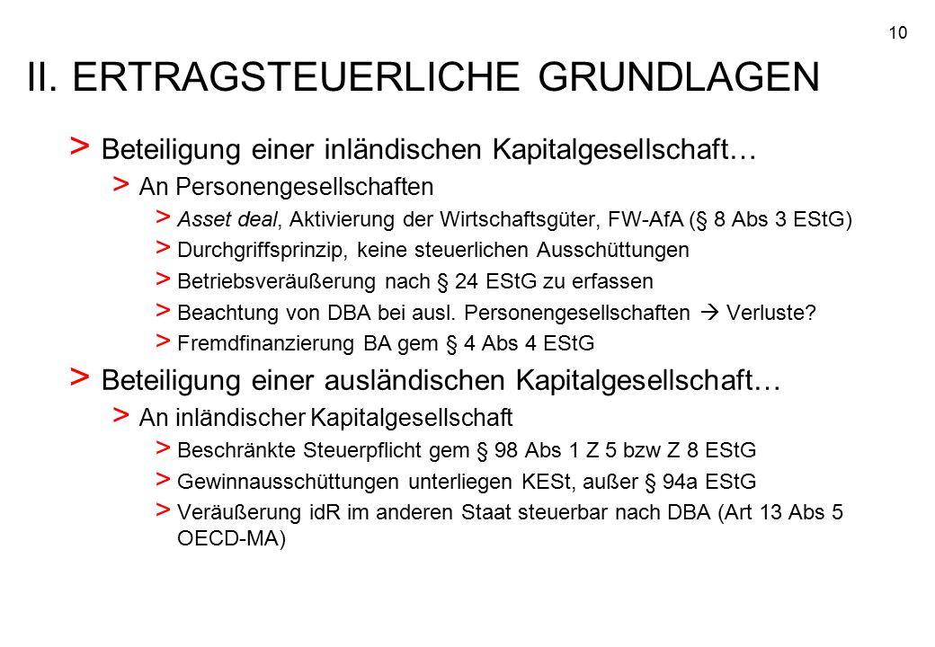 10 > Beteiligung einer inländischen Kapitalgesellschaft… > An Personengesellschaften > Asset deal, Aktivierung der Wirtschaftsgüter, FW-AfA (§ 8 Abs 3
