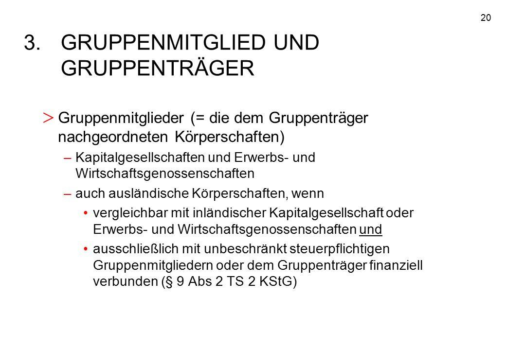 20 3.GRUPPENMITGLIED UND GRUPPENTRÄGER > Gruppenmitglieder (= die dem Gruppenträger nachgeordneten Körperschaften) –Kapitalgesellschaften und Erwerbs-