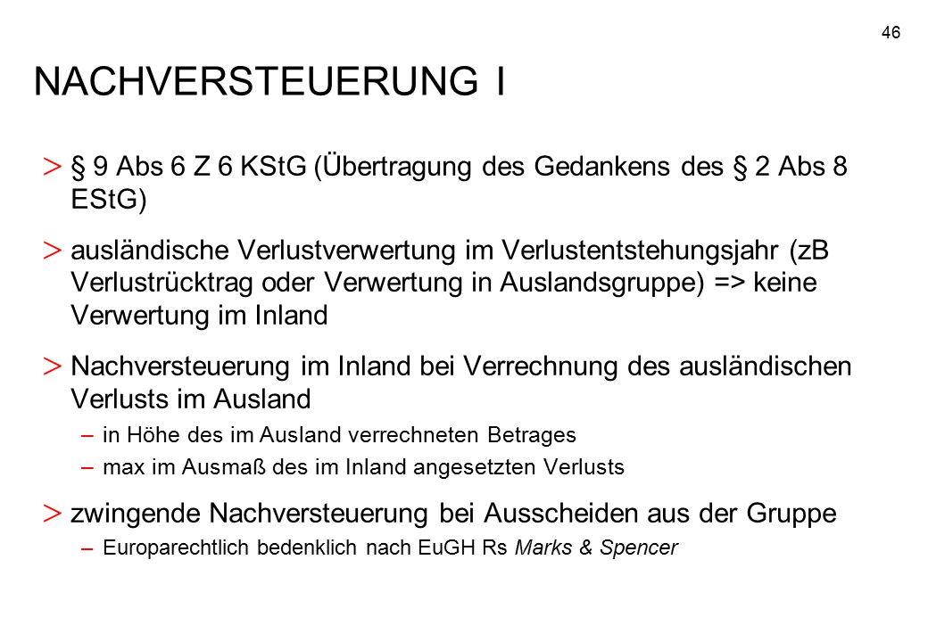 46 NACHVERSTEUERUNG I > § 9 Abs 6 Z 6 KStG (Übertragung des Gedankens des § 2 Abs 8 EStG) > ausländische Verlustverwertung im Verlustentstehungsjahr (