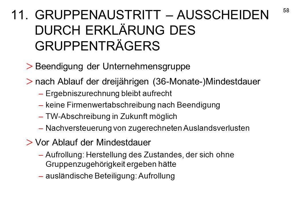 58 11.GRUPPENAUSTRITT – AUSSCHEIDEN DURCH ERKLÄRUNG DES GRUPPENTRÄGERS > Beendigung der Unternehmensgruppe > nach Ablauf der dreijährigen (36-Monate-)
