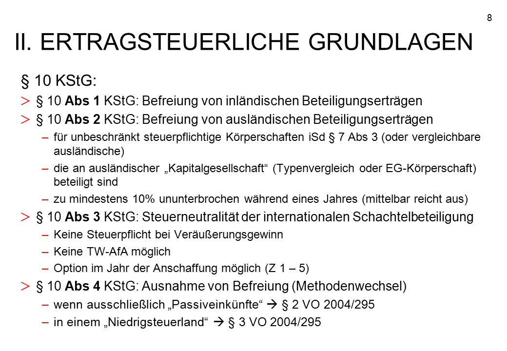 8 § 10 KStG: > § 10 Abs 1 KStG: Befreiung von inländischen Beteiligungserträgen > § 10 Abs 2 KStG: Befreiung von ausländischen Beteiligungserträgen –f
