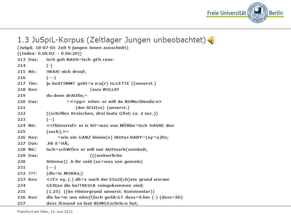 Frankfurt am Main, 14. Juni 2010 1.3 JuSpiL-Korpus (Zeltlager Jungen unbeobachtet) [JuSpiL 18-07-05 Zelt 9 jungen innen ausschnitt] ((Index: 0.06:02 –