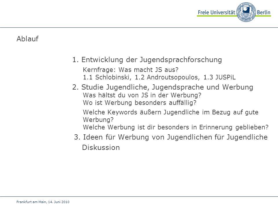 Ablauf 1. Entwicklung der Jugendsprachforschung Kernfrage: Was macht JS aus? 1.1 Schlobinski, 1.2 Androutsopoulos, 1.3 JUSPiL 2. Studie Jugendliche, J