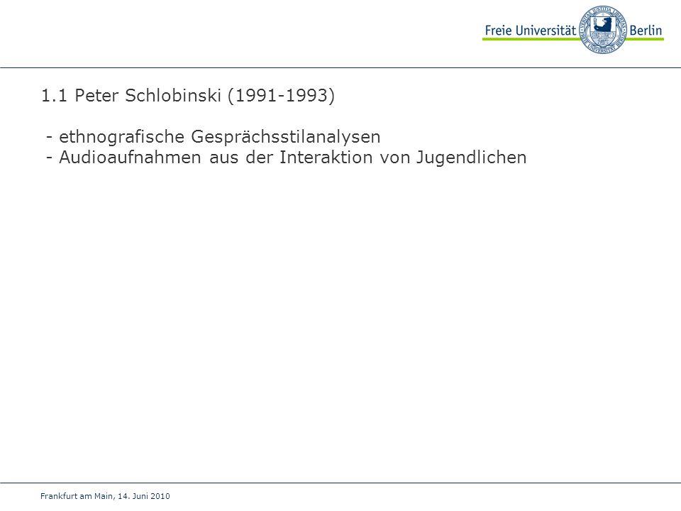 Frankfurt am Main, 14. Juni 2010 1.1 Peter Schlobinski (1991-1993) - ethnografische Gesprächsstilanalysen - Audioaufnahmen aus der Interaktion von Jug