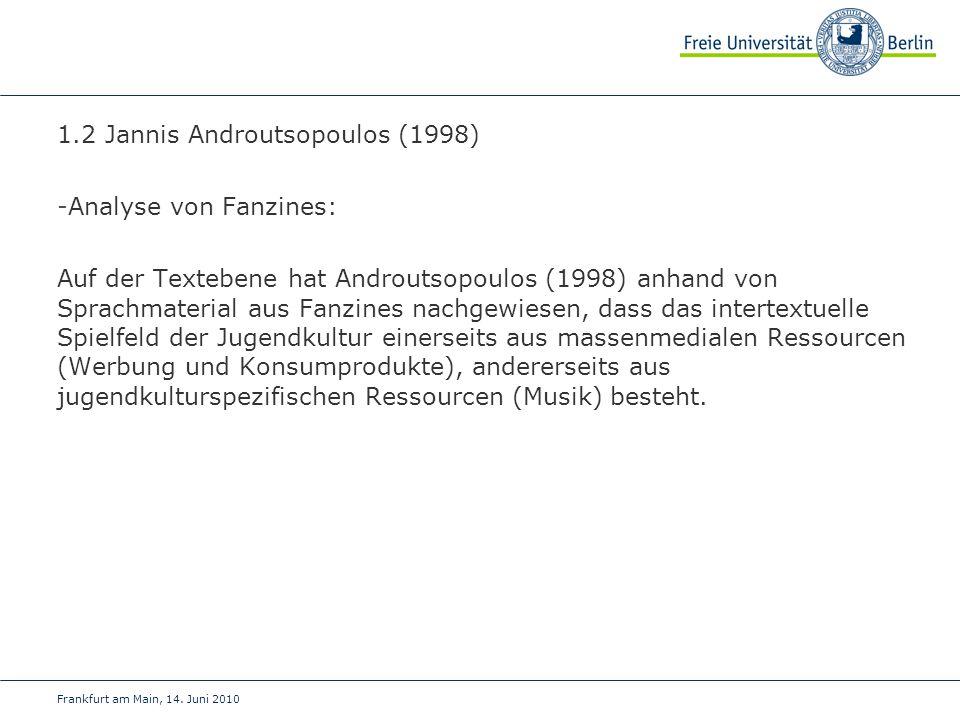 1.2 Jannis Androutsopoulos (1998) -Analyse von Fanzines: Auf der Textebene hat Androutsopoulos (1998) anhand von Sprachmaterial aus Fanzines nachgewie