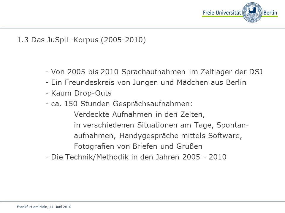 Frankfurt am Main, 14. Juni 2010 1.3 Das JuSpiL-Korpus (2005-2010) - Von 2005 bis 2010 Sprachaufnahmen im Zeltlager der DSJ - Ein Freundeskreis von Ju