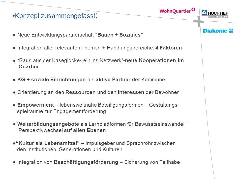 """Konzept zusammengefasst : ● Neue Entwicklungspartnerschaft """"Bauen + Soziales"""" ● Integration aller relevanten Themen + Handlungsbereiche: 4 Faktoren ●"""
