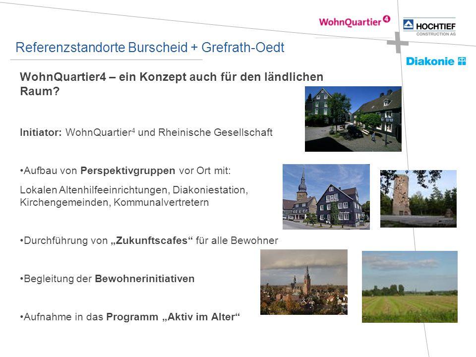 Referenzstandorte Burscheid + Grefrath-Oedt WohnQuartier4 – ein Konzept auch für den ländlichen Raum? Initiator: WohnQuartier 4 und Rheinische Gesells