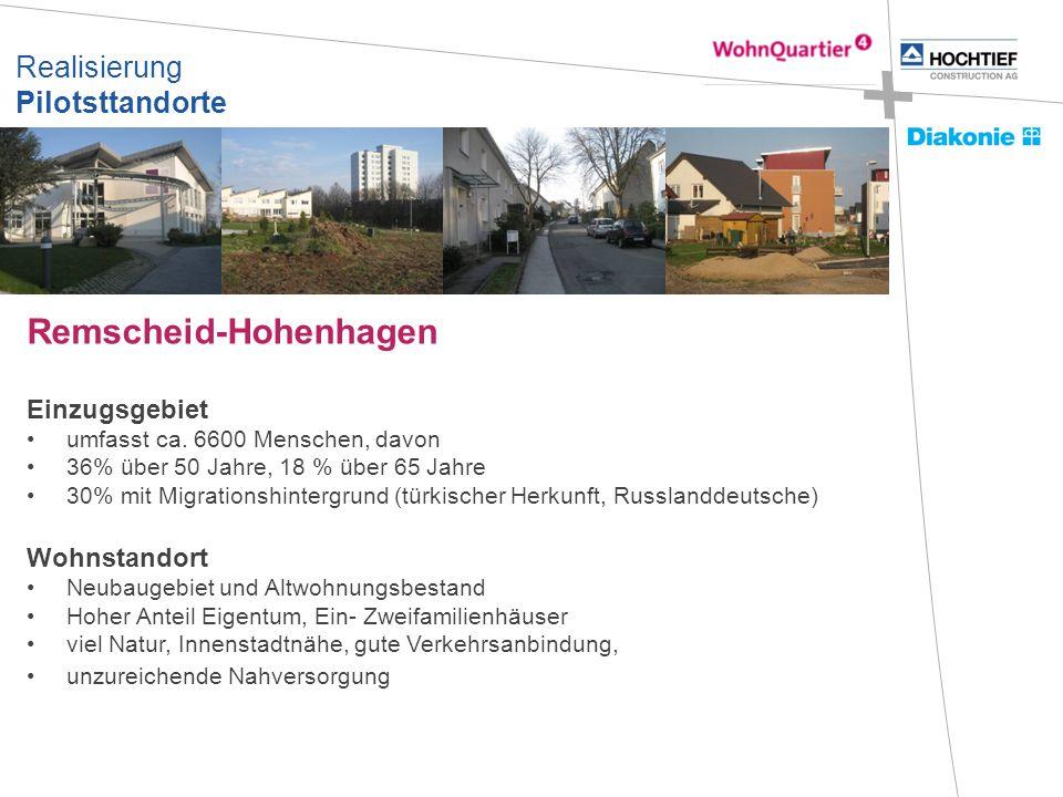 Realisierung Pilotsttandorte Remscheid-Hohenhagen Einzugsgebiet umfasst ca. 6600 Menschen, davon 36% über 50 Jahre, 18 % über 65 Jahre 30% mit Migrati