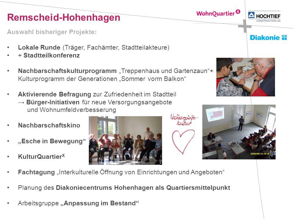 Remscheid-Hohenhagen Auswahl bisheriger Projekte: Lokale Runde (Träger, Fachämter, Stadtteilakteure) + Stadtteilkonferenz Nachbarschaftskulturprogramm
