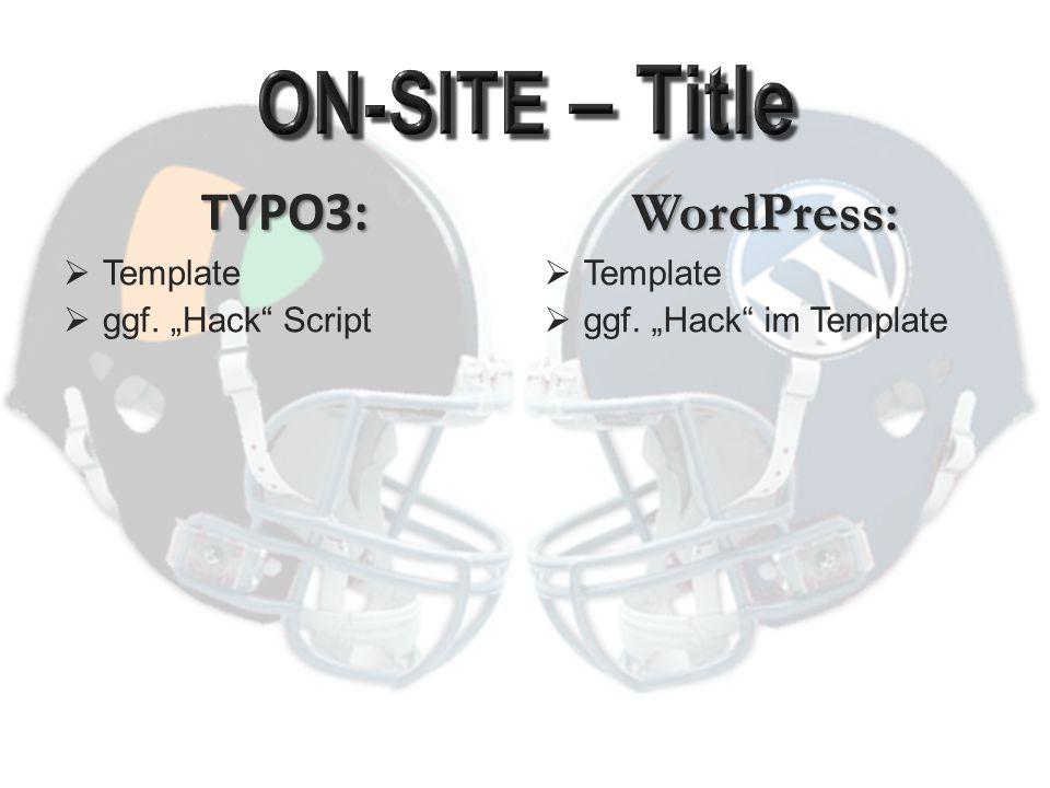TYPO3:  Template  Mehrere Felder zur Verfügung  ggf.