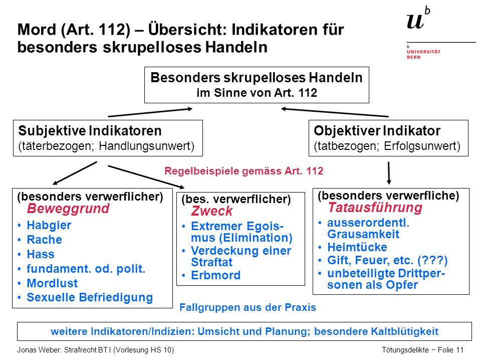Jonas Weber: Strafrecht BT I (Vorlesung HS 10) Tötungsdelikte − Folie 11 Mord (Art.
