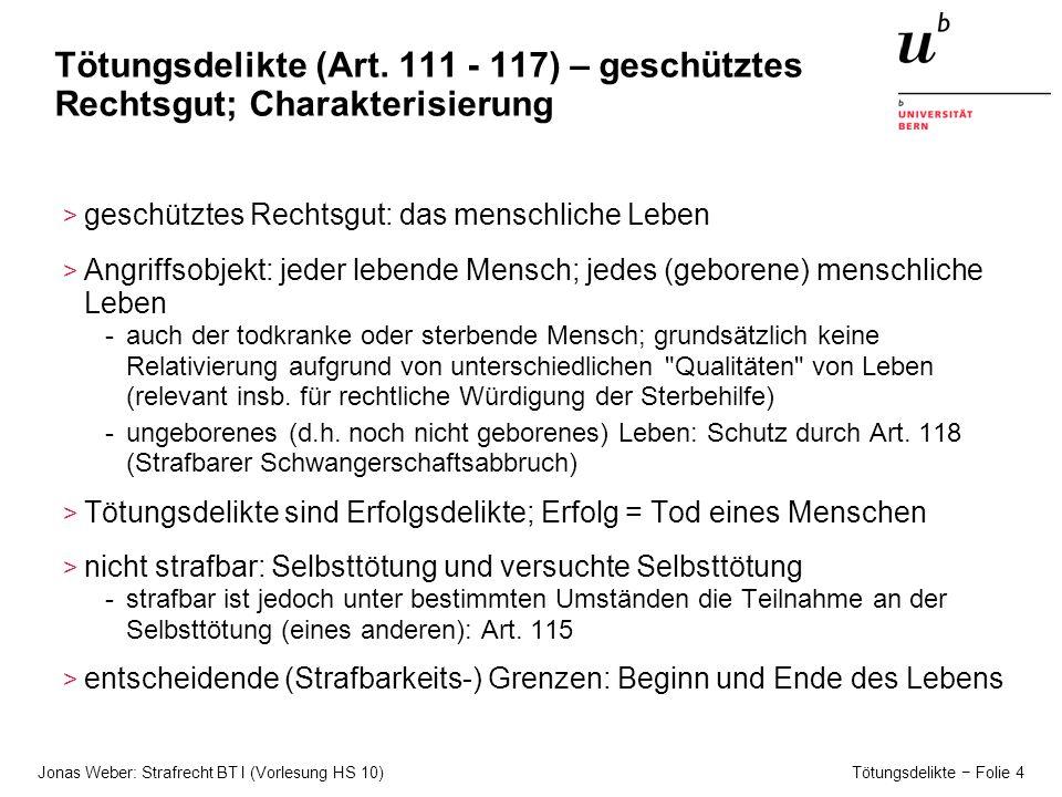 Jonas Weber: Strafrecht BT I (Vorlesung HS 10) Tötungsdelikte − Folie 5 Tötungsdelikte (Art.