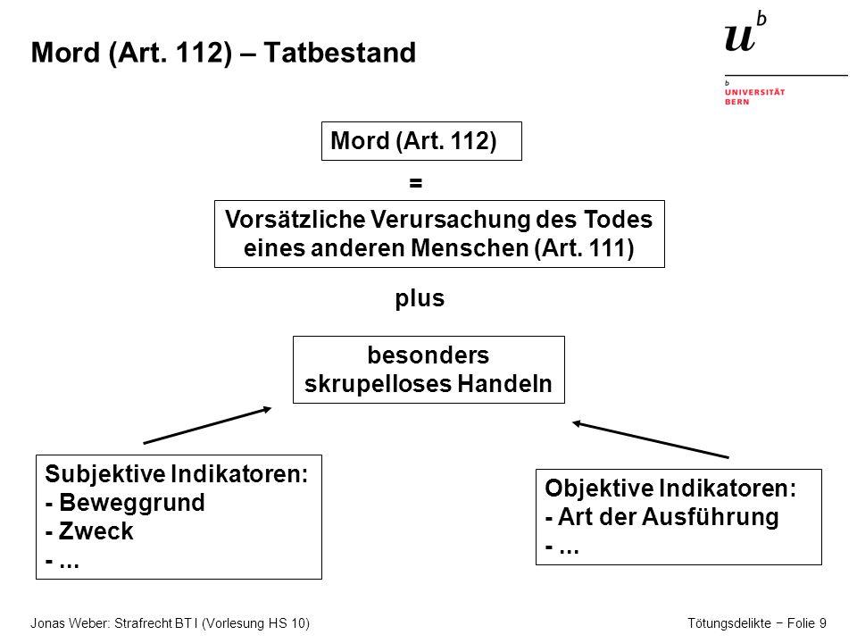 Jonas Weber: Strafrecht BT I (Vorlesung HS 10) Tötungsdelikte − Folie 9 Mord (Art.