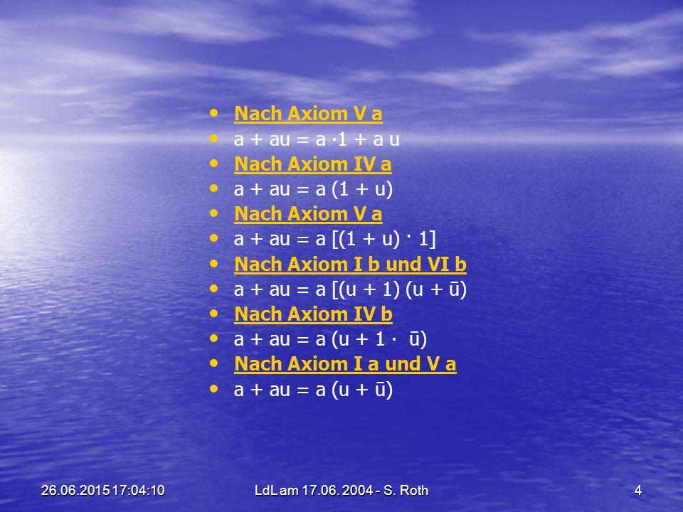 26.06.2015 17:05:44LdL am 17.06. 2004 - S. Roth4 Nach Axiom V a a + au = a ∙1 + a u Nach Axiom IV a a + au = a (1 + u) Nach Axiom V a a + au = a [(1 +