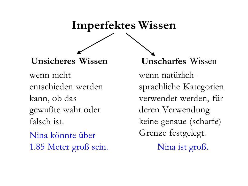 Imperfektes Wissen Unsicheres Wissen wenn nicht entschieden werden kann, ob das gewußte wahr oder falsch ist.