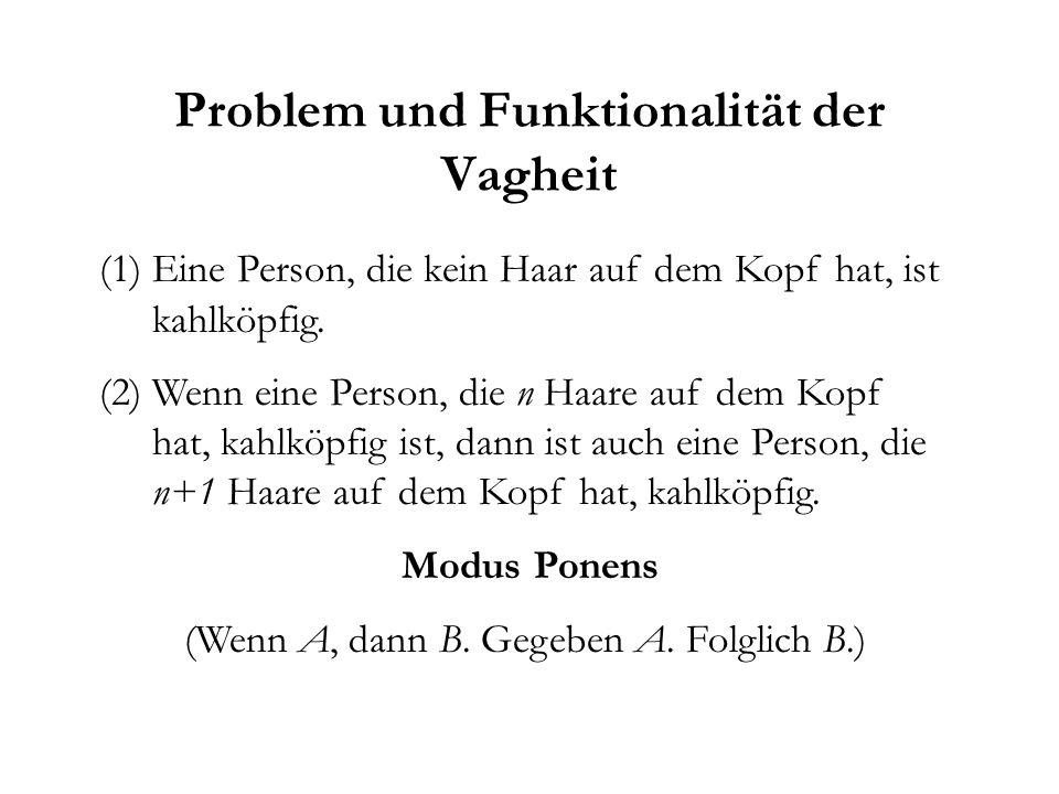 Problem und Funktionalität der Vagheit (1)Eine Person, die kein Haar auf dem Kopf hat, ist kahlköpfig.