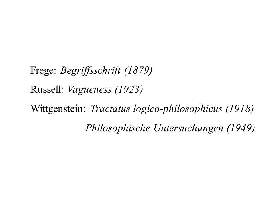 Frege: Begriffsschrift (1879) Russell: Vagueness (1923) Wittgenstein: Tractatus logico-philosophicus (1918) Philosophische Untersuchungen (1949)