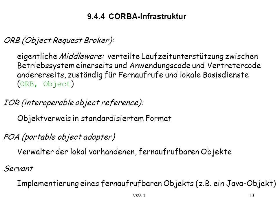 vs9.413 9.4.4 CORBA-Infrastruktur ORB (Object Request Broker): eigentliche Middleware: verteilte Laufzeitunterstützung zwischen Betriebssystem einerseits und Anwendungscode und Vertretercode andererseits, zuständig für Fernaufrufe und lokale Basisdienste ( ORB, Object ) IOR (interoperable object reference): Objektverweis in standardisiertem Format POA (portable object adapter) Verwalter der lokal vorhandenen, fernaufrufbaren Objekte Servant Implementierung eines fernaufrufbaren Objekts (z.B.