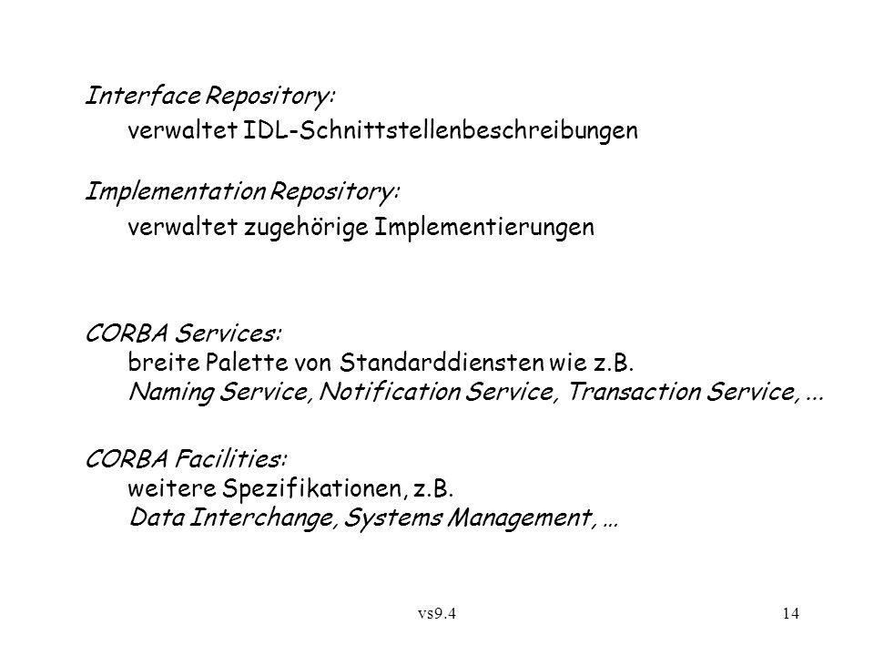 vs9.414 Interface Repository: verwaltet IDL-Schnittstellenbeschreibungen Implementation Repository: verwaltet zugehörige Implementierungen CORBA Services: breite Palette von Standarddiensten wie z.B.