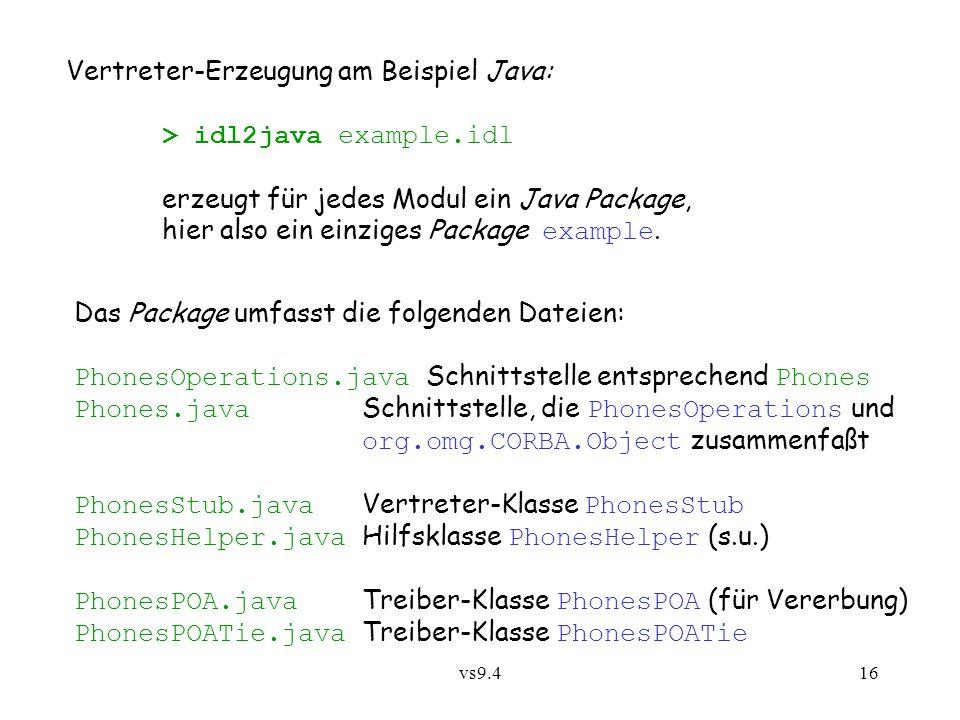 vs9.416 Vertreter-Erzeugung am Beispiel Java: > idl2java example.idl erzeugt für jedes Modul ein Java Package, hier also ein einziges Package example.