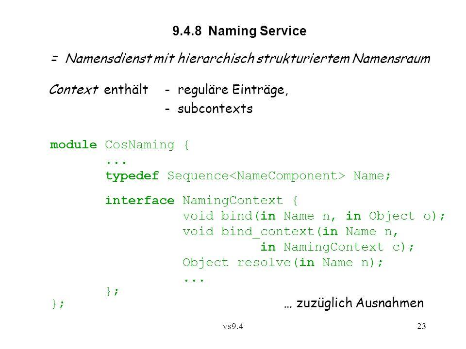 vs9.423 9.4.8 Naming Service = Namensdienst mit hierarchisch strukturiertem Namensraum Context enthält - reguläre Einträge, - subcontexts module CosNaming {...