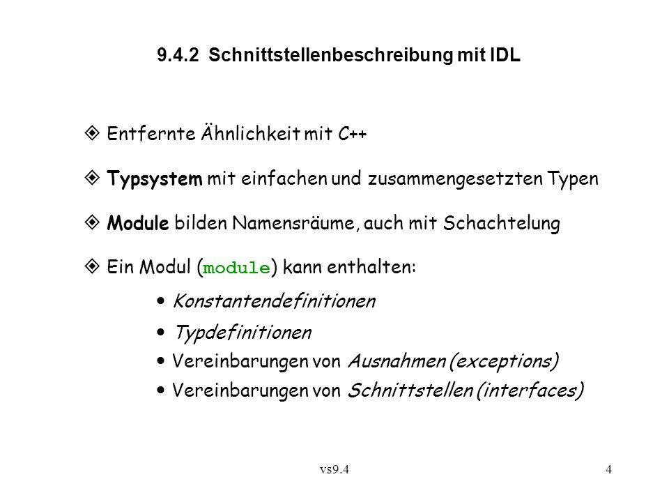 vs9.44 9.4.2 Schnittstellenbeschreibung mit IDL  Entfernte Ähnlichkeit mit C++  Typsystem mit einfachen und zusammengesetzten Typen  Module bilden Namensräume, auch mit Schachtelung  Ein Modul ( module ) kann enthalten: Konstantendefinitionen Typdefinitionen Vereinbarungen von Ausnahmen (exceptions) Vereinbarungen von Schnittstellen (interfaces)