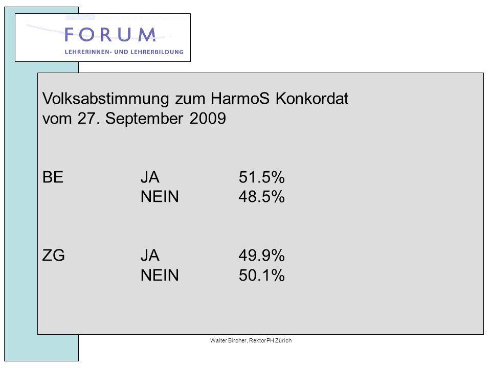 27. April 2010Walter Bircher, Rektor PH Zürich Volksabstimmung zum HarmoS Konkordat vom 27.