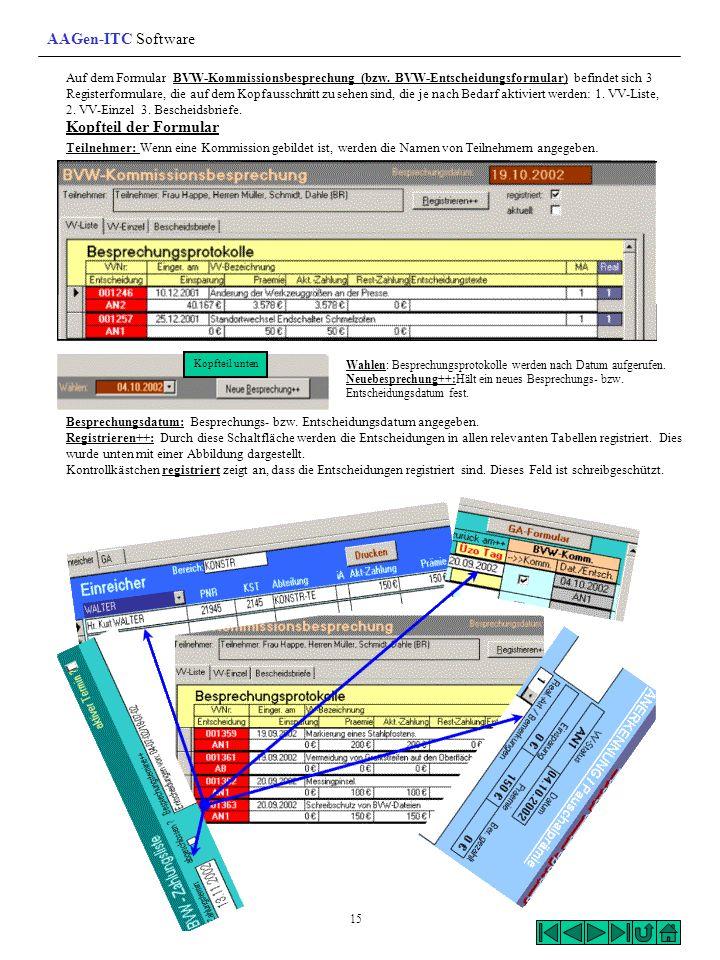 Auf dem Formular BVW-Kommissionsbesprechung (bzw. BVW-Entscheidungsformular) befindet sich 3 Registerformulare, die auf dem Kopfausschnitt zu sehen si
