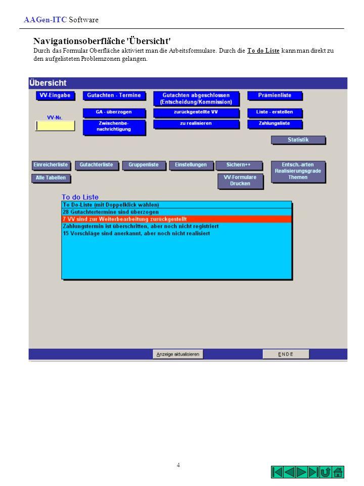Navigationsoberfläche 'Übersicht' Durch das Formular Oberfläche aktiviert man die Arbeitsformulare. Durch die To do Liste kann man direkt zu den aufge