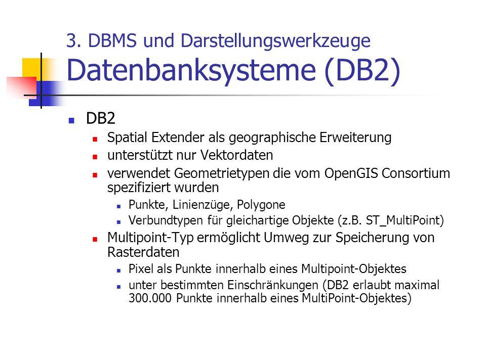 3. DBMS und Darstellungswerkzeuge Datenbanksysteme (DB2) DB2 Spatial Extender als geographische Erweiterung unterstützt nur Vektordaten verwendet Geom