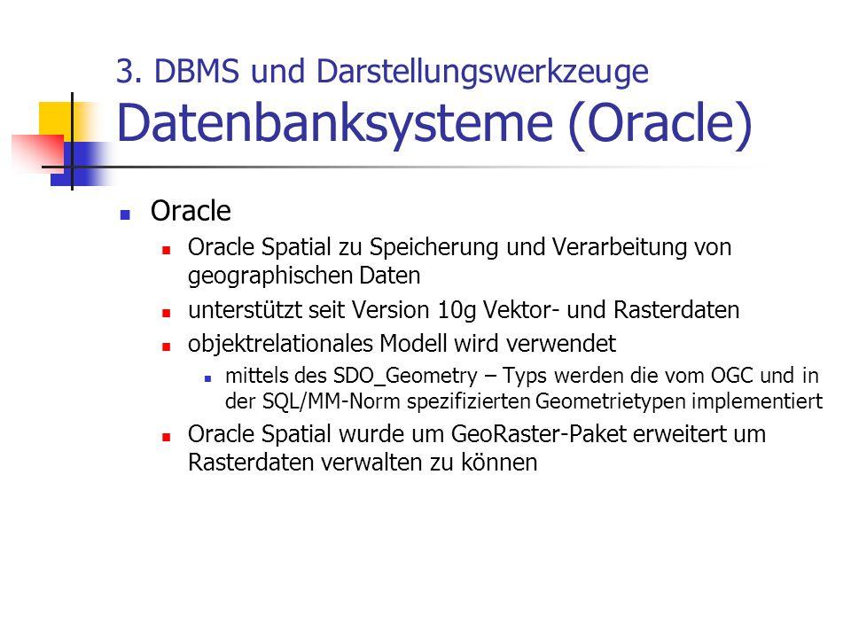 3. DBMS und Darstellungswerkzeuge Datenbanksysteme (Oracle) Oracle Oracle Spatial zu Speicherung und Verarbeitung von geographischen Daten unterstützt