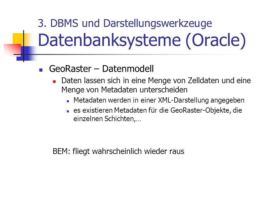3. DBMS und Darstellungswerkzeuge Datenbanksysteme (Oracle) GeoRaster – Datenmodell Daten lassen sich in eine Menge von Zelldaten und eine Menge von M