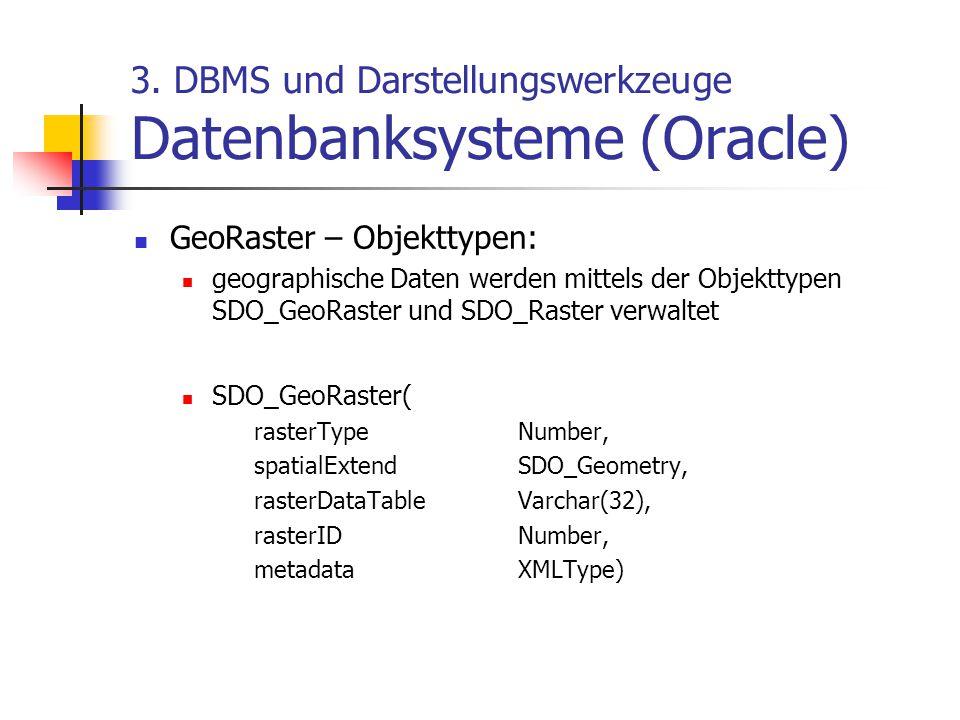 3. DBMS und Darstellungswerkzeuge Datenbanksysteme (Oracle) GeoRaster – Objekttypen: geographische Daten werden mittels der Objekttypen SDO_GeoRaster