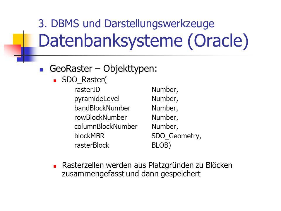 3. DBMS und Darstellungswerkzeuge Datenbanksysteme (Oracle) GeoRaster – Objekttypen: SDO_Raster( rasterIDNumber, pyramideLevelNumber, bandBlockNumberN